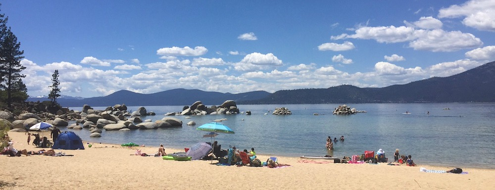 Sand Harbor beach in the summer