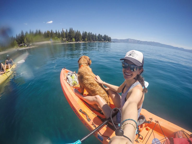 Kayaking on Lake Tahoe with dog